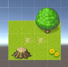 地面の上に木などのオブジェクト