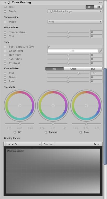Color Gradingの設定項目