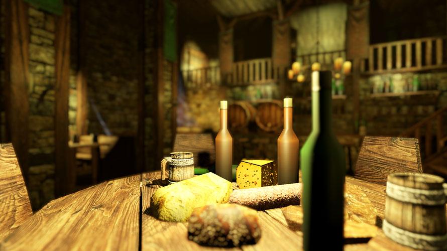 テーブルの上の茶色いビンに焦点が合っている