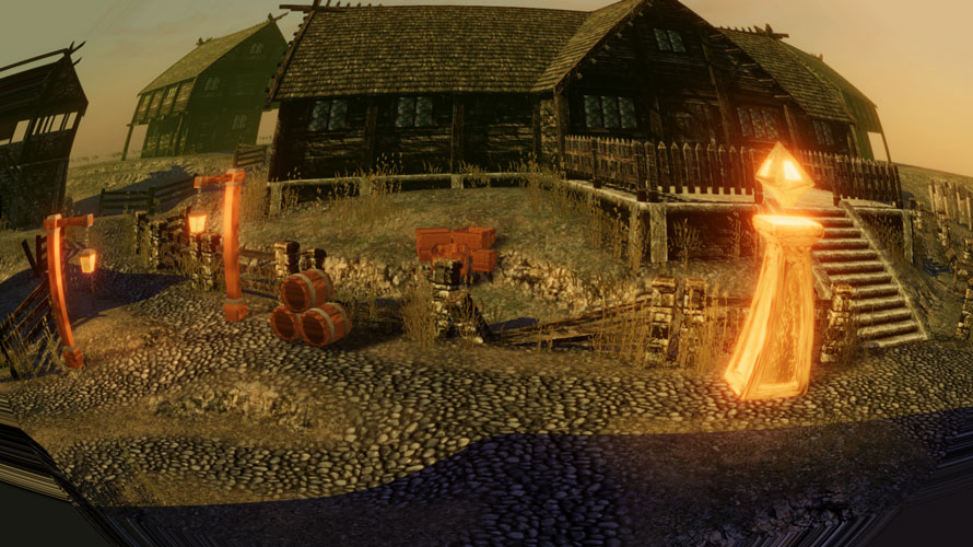 歪んだ村の風景